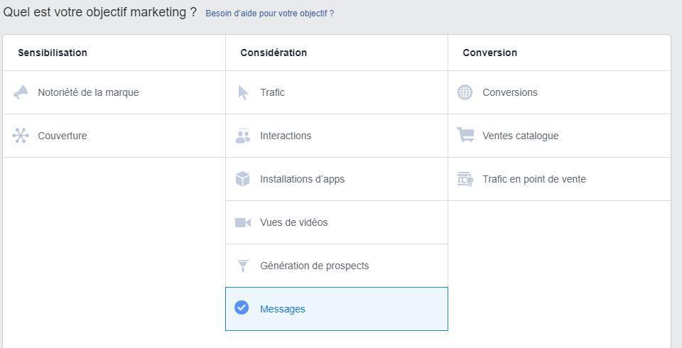 Objectifs Facebook